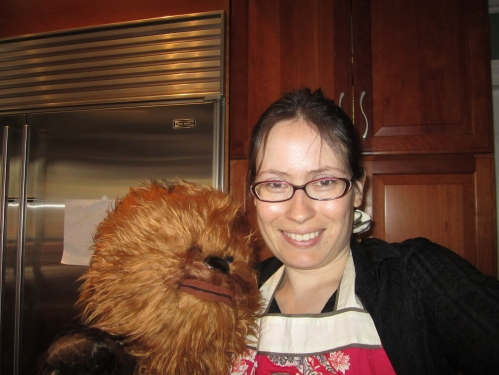 Chewbacca helps in kitchen