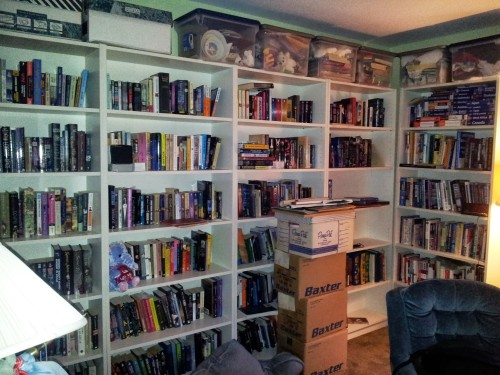 The bulk of my library. Once I take care of those boxes, this will be my dream room realized.