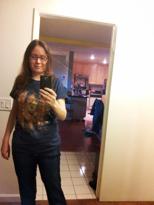 My writing uniform: jeans and a T-shirt.