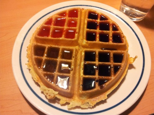 A very structured waffle. I can attest to the fact that it was quite delicious.